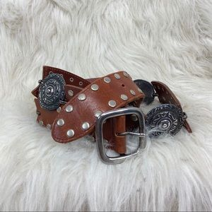 Etcetera brown leather silver tone concho belt